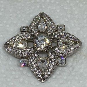 Rhinestone brooch vintage retro floral flower pin
